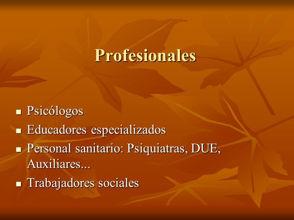 Profesionales Psicólogos Educadores especializados Personal sanitario: Psiquiatras, DUE, Auxiliares... Trabajadores sociales