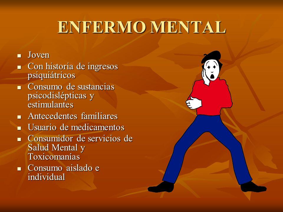 ENFERMO MENTAL Joven Joven Con historia de ingresos psiquiátricos Con historia de ingresos psiquiátricos Consumo de sustancias psicodislépticas y esti