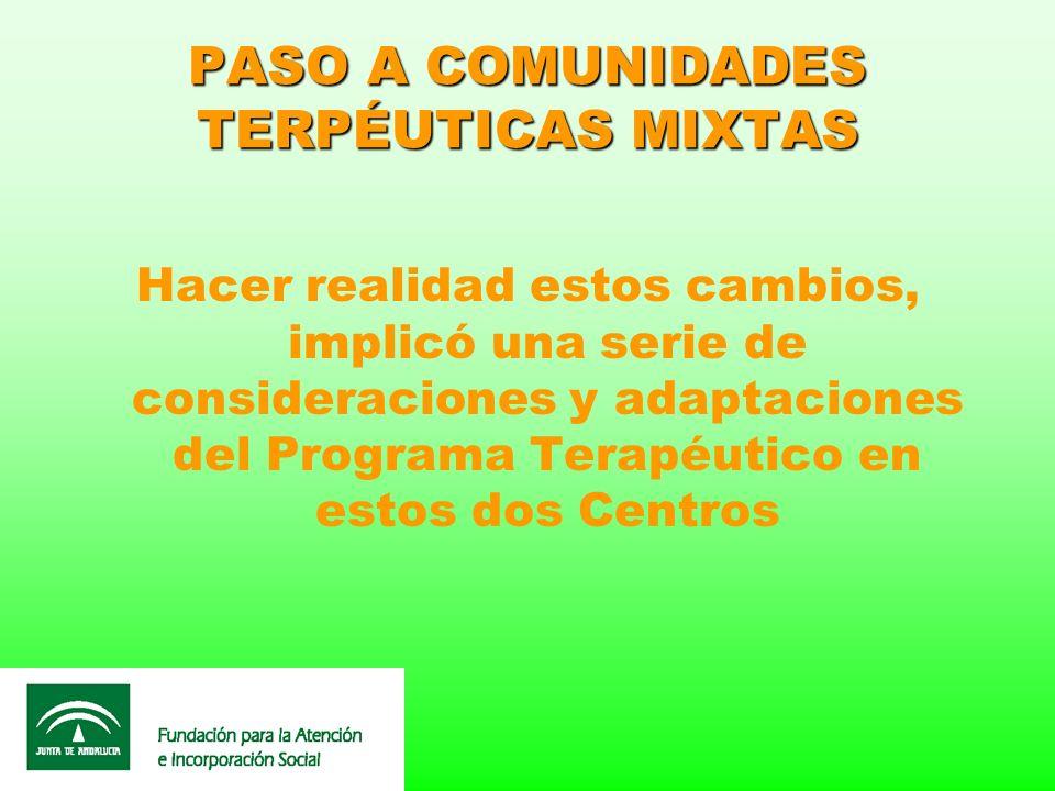 PASO A COMUNIDADES TERPÉUTICAS MIXTAS Hacer realidad estos cambios, implicó una serie de consideraciones y adaptaciones del Programa Terapéutico en es