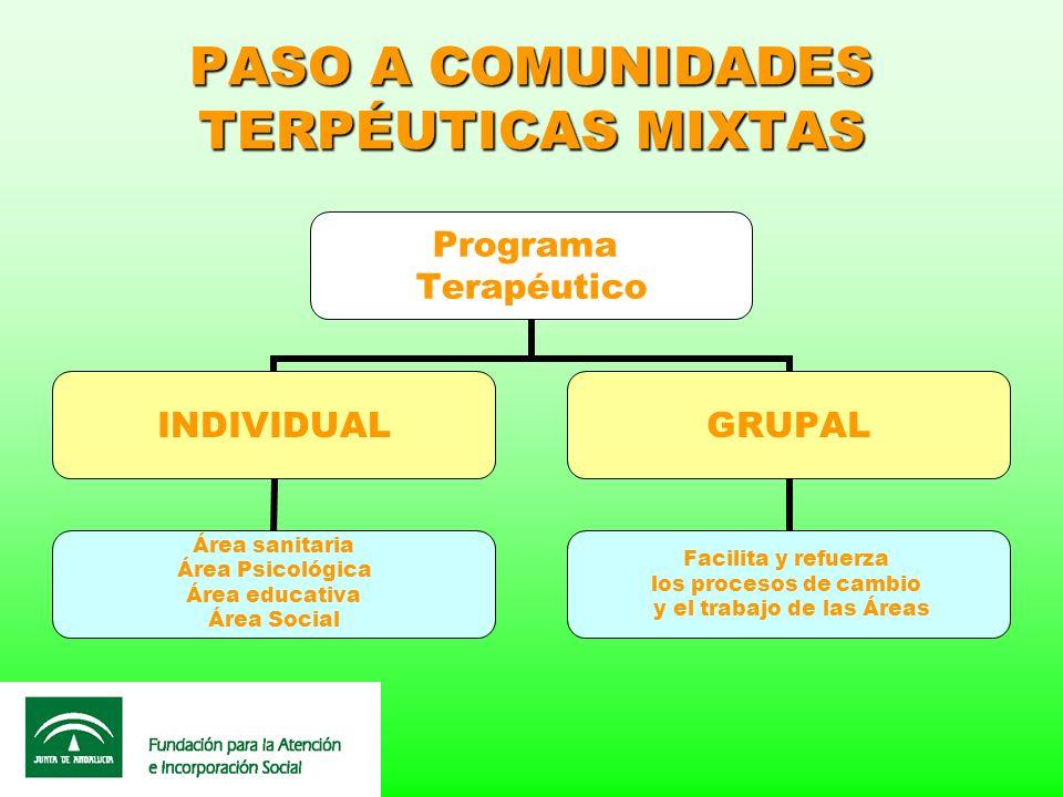 PASO A COMUNIDADES TERPÉUTICAS MIXTAS Programa Terapéutico INDIVIDUAL Área sanitaria Área Psicológica Área educativa Área Social GRUPAL Facilita y ref