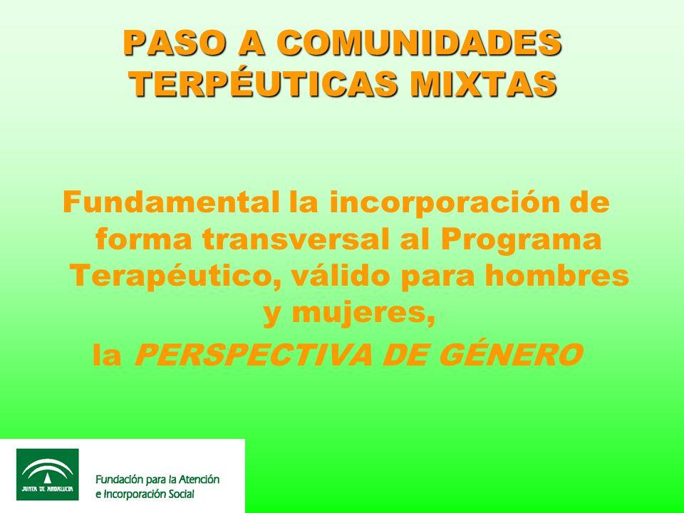 PASO A COMUNIDADES TERPÉUTICAS MIXTAS Fundamental la incorporación de forma transversal al Programa Terapéutico, válido para hombres y mujeres, la PER