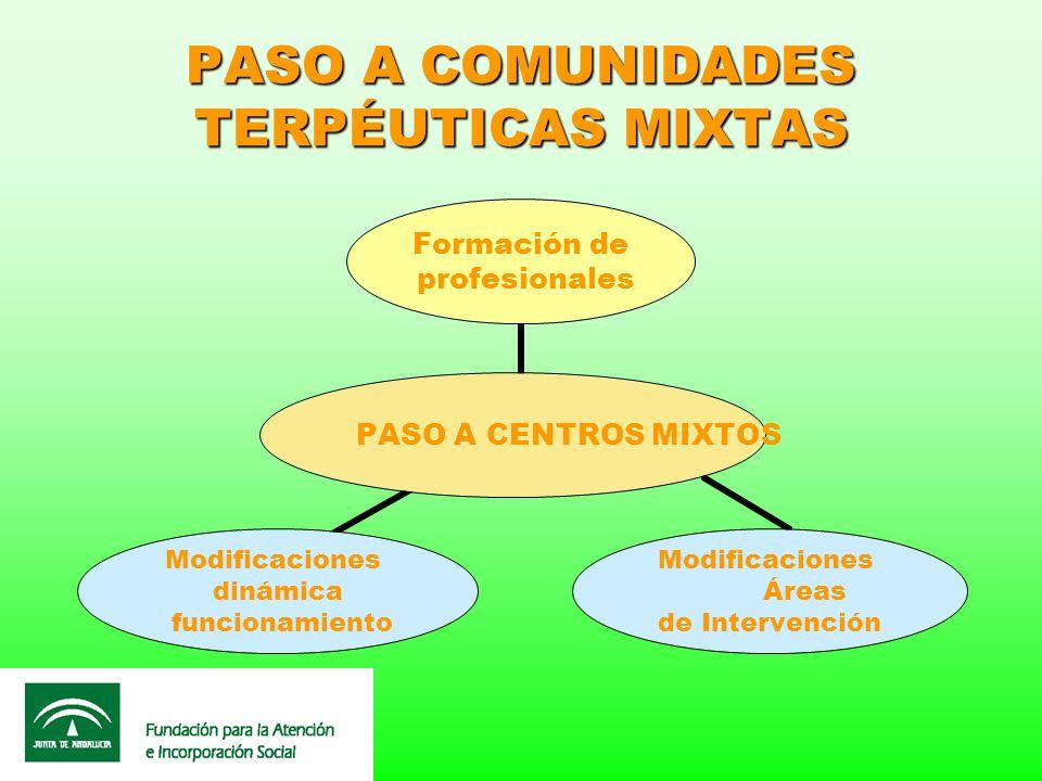 PASO A COMUNIDADES TERPÉUTICAS MIXTAS PASO A CENTROS MIXTOS Formación de profesionales Modificaciones Áreas de Intervención Modificaciones dinámica fu