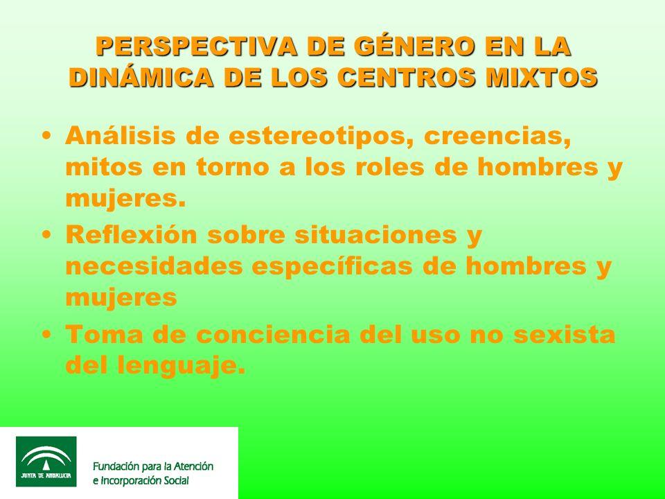 PERSPECTIVA DE GÉNERO EN LA DINÁMICA DE LOS CENTROS MIXTOS Análisis de estereotipos, creencias, mitos en torno a los roles de hombres y mujeres. Refle