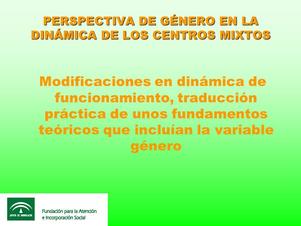 PERSPECTIVA DE GÉNERO EN LA DINÁMICA DE LOS CENTROS MIXTOS Modificaciones en dinámica de funcionamiento, traducción práctica de unos fundamentos teóri