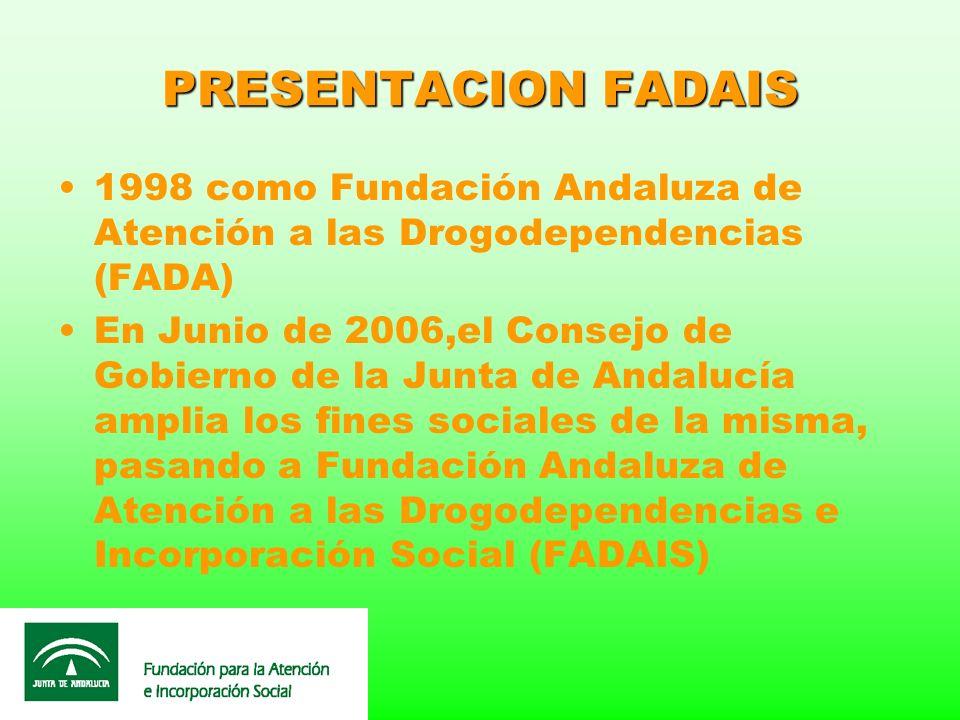 PRESENTACION FADAIS 1998 como Fundación Andaluza de Atención a las Drogodependencias (FADA) En Junio de 2006,el Consejo de Gobierno de la Junta de And