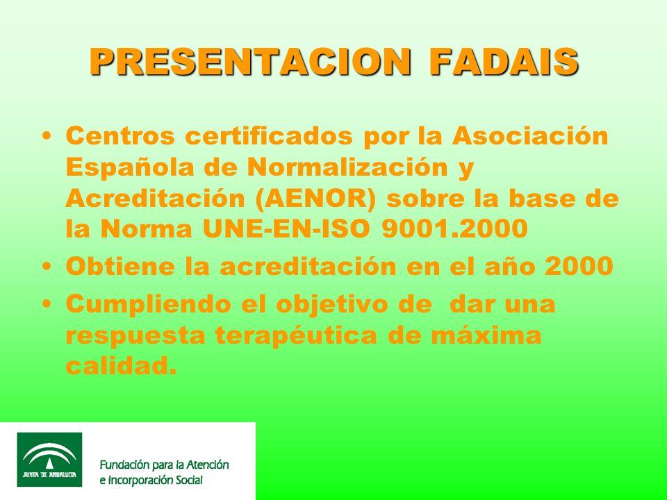 PRESENTACION FADAIS Centros certificados por la Asociación Española de Normalización y Acreditación (AENOR) sobre la base de la Norma UNE-EN-ISO 9001.