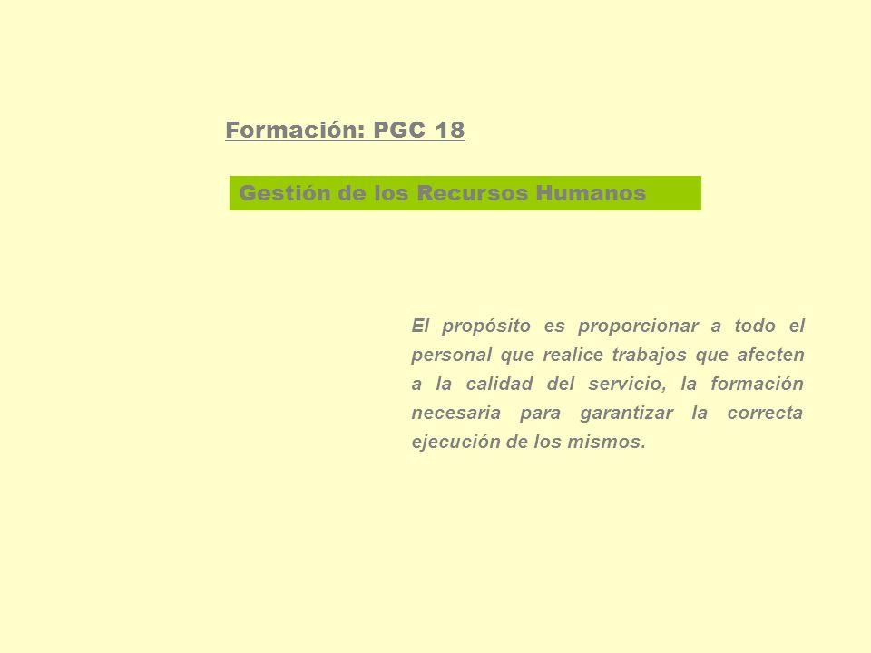 Gestión de los Recursos Humanos Formación: PGC 18 Determinar las necesidades de desarrollo profesional -estudio de necesidades-: evaluación continúa del proceso formativo, cuestionario general para muestra de profesionales, aportaciones.