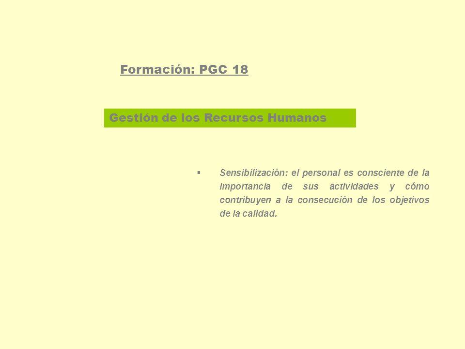 Gestión de los Recursos Humanos Formación: PGC 18 Sensibilización: el personal es consciente de la importancia de sus actividades y cómo contribuyen a la consecución de los objetivos de la calidad.