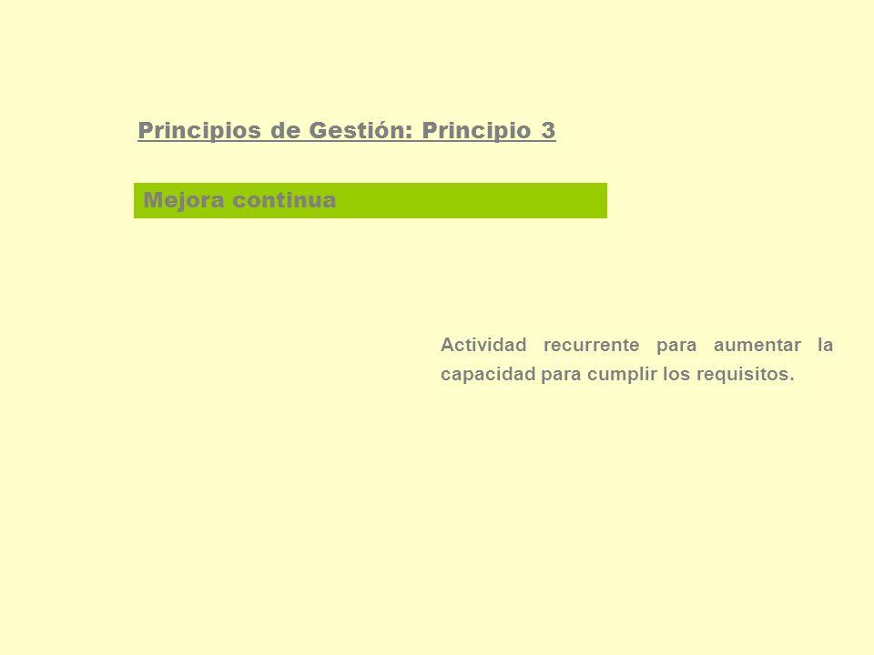 Participación del personal Principios de Gestión: Principio 4 El personal, a todos los niveles, es la esencia de una organización y su total implicación posibilita que sus habilidades sean usadas para el beneficio de la organización.