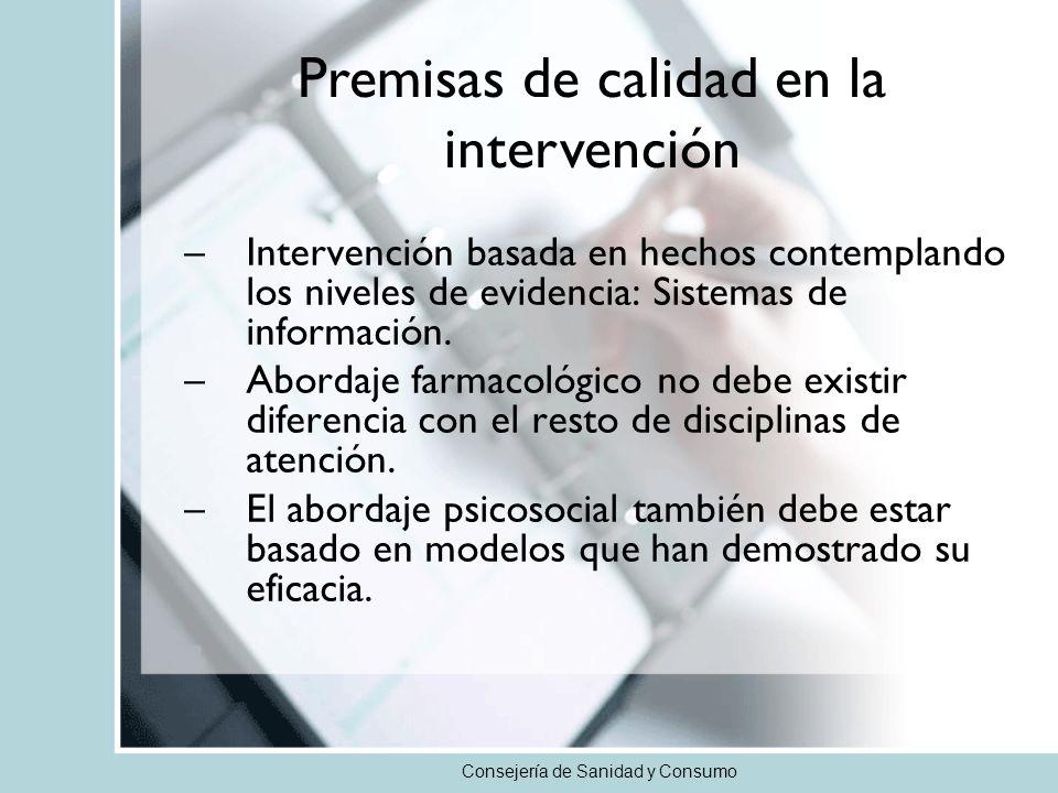 Consejería de Sanidad y Consumo –Intervención basada en hechos contemplando los niveles de evidencia: Sistemas de información.