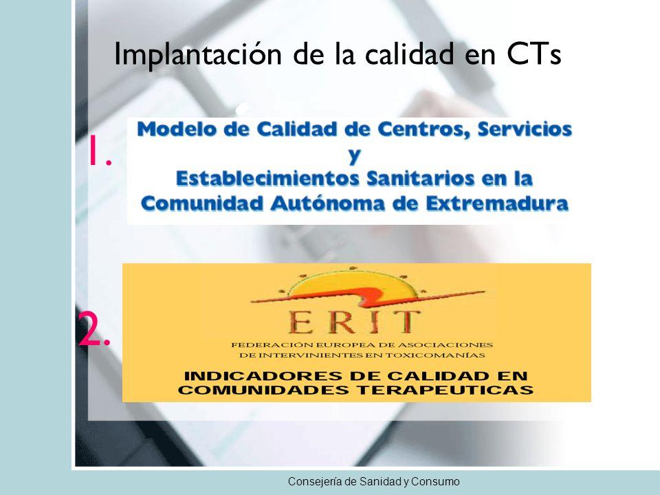 Consejería de Sanidad y Consumo Implantación de la calidad en CTs 1. 2.