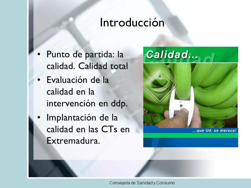 Introducción Punto de partida: la calidad. Calidad total Evaluación de la calidad en la intervención en ddp. Implantación de la calidad en las CTs en