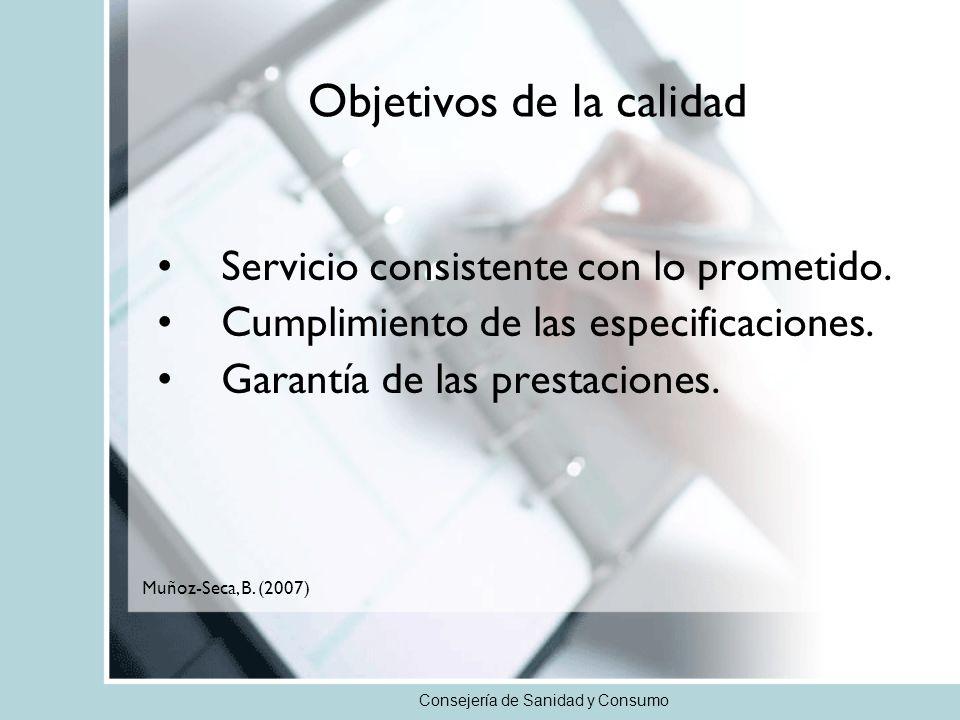 Consejería de Sanidad y Consumo Objetivos de la calidad Servicio consistente con lo prometido. Cumplimiento de las especificaciones. Garantía de las p