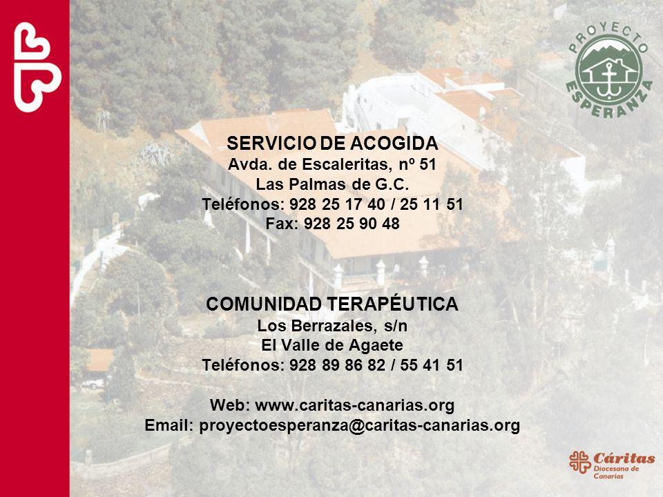 SERVICIO DE ACOGIDA Avda. de Escaleritas, nº 51 Las Palmas de G.C. Teléfonos: 928 25 17 40 / 25 11 51 Fax: 928 25 90 48 COMUNIDAD TERAPÉUTICA Los Berr