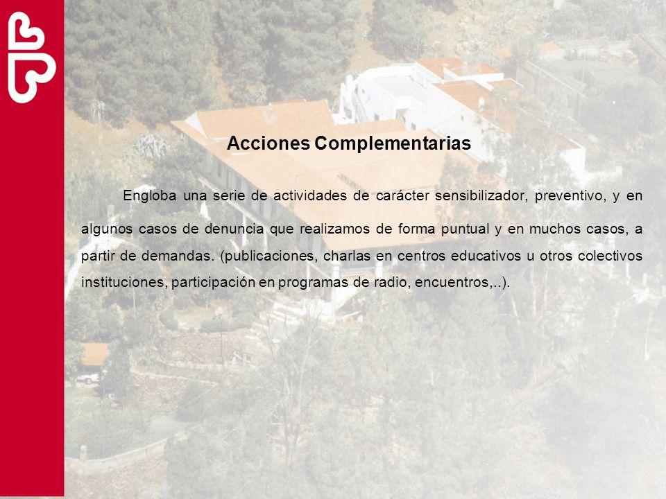 Acciones Complementarias Engloba una serie de actividades de carácter sensibilizador, preventivo, y en algunos casos de denuncia que realizamos de for