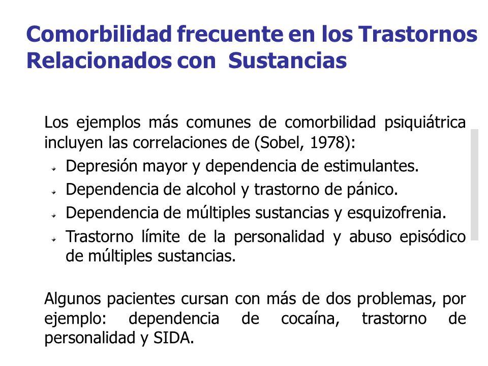Los ejemplos más comunes de comorbilidad psiquiátrica incluyen las correlaciones de (Sobel, 1978): Depresión mayor y dependencia de estimulantes. Depe