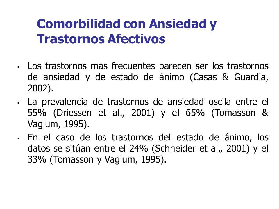 Los trastornos mas frecuentes parecen ser los trastornos de ansiedad y de estado de ánimo (Casas & Guardia, 2002). La prevalencia de trastornos de ans