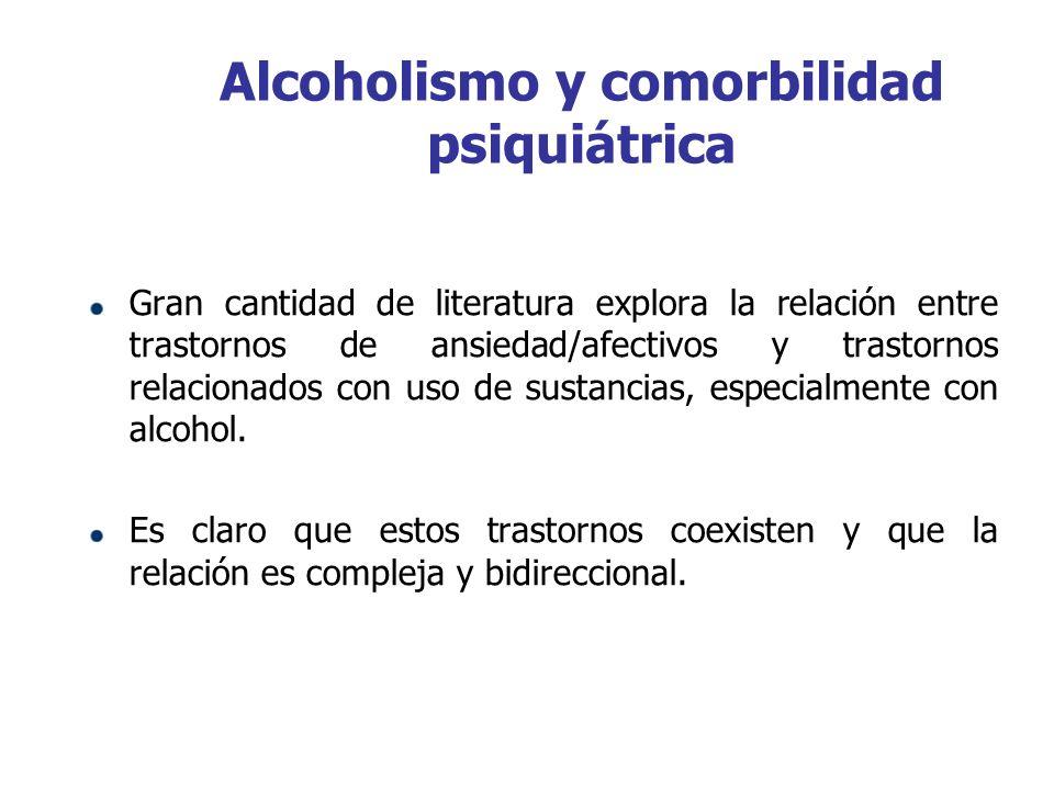 Alcoholismo y comorbilidad psiquiátrica Gran cantidad de literatura explora la relación entre trastornos de ansiedad/afectivos y trastornos relacionad
