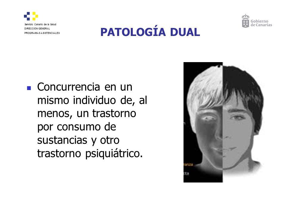 PATOLOGÍA DUAL Concurrencia en un mismo individuo de, al menos, un trastorno por consumo de sustancias y otro trastorno psiquiátrico. Servicio Canario