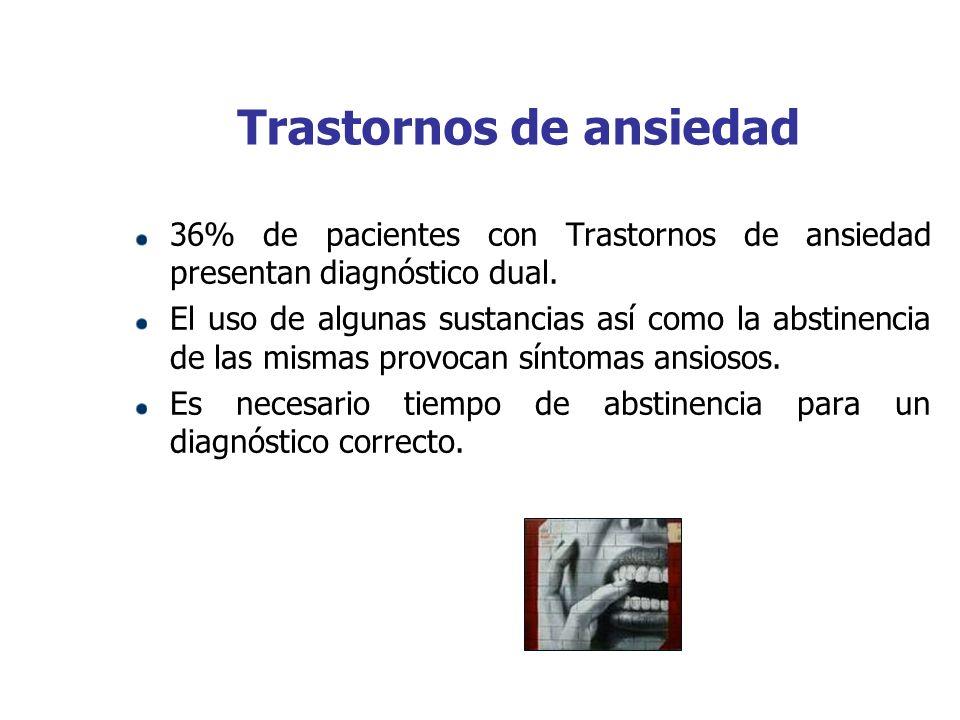 Trastornos de ansiedad 36% de pacientes con Trastornos de ansiedad presentan diagnóstico dual. El uso de algunas sustancias así como la abstinencia de