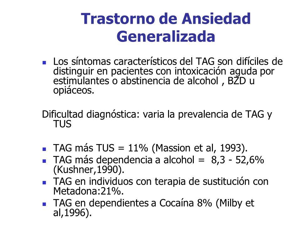 Trastorno de Ansiedad Generalizada Los síntomas característicos del TAG son difíciles de distinguir en pacientes con intoxicación aguda por estimulant