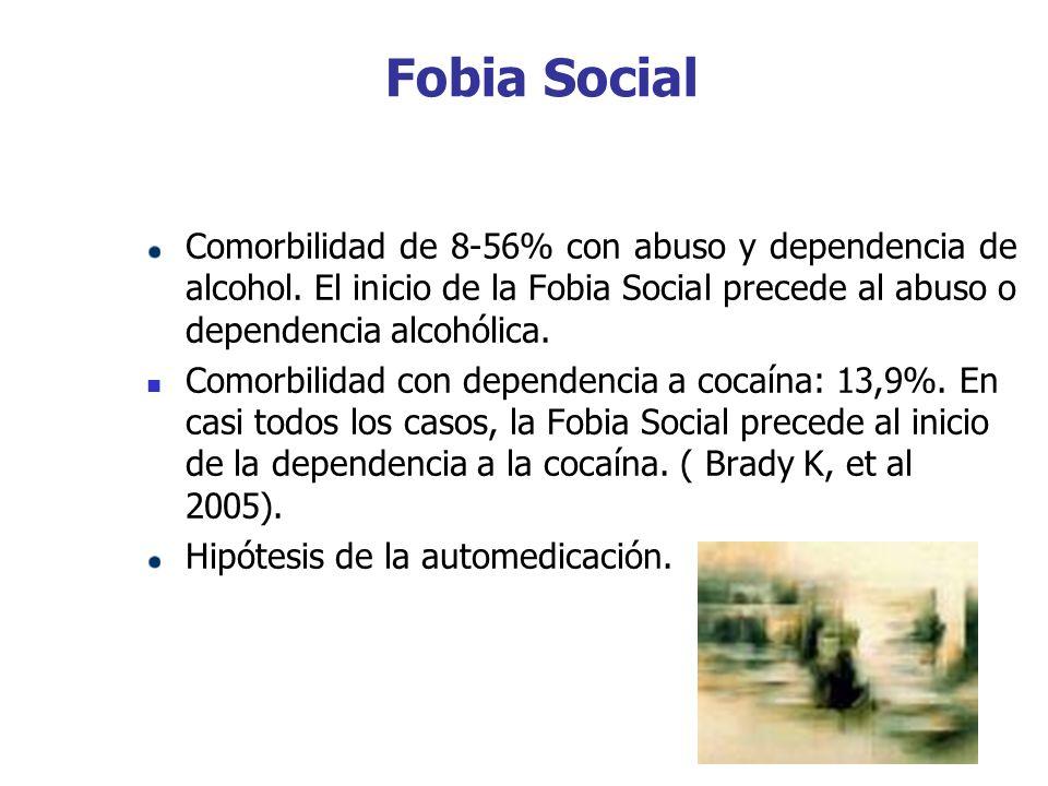 Fobia Social Comorbilidad de 8-56% con abuso y dependencia de alcohol. El inicio de la Fobia Social precede al abuso o dependencia alcohólica. Comorbi