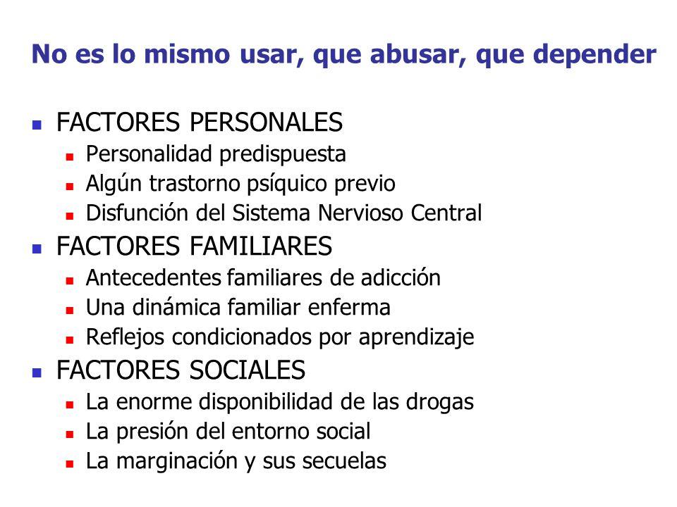 No es lo mismo usar, que abusar, que depender FACTORES PERSONALES Personalidad predispuesta Algún trastorno psíquico previo Disfunción del Sistema Ner
