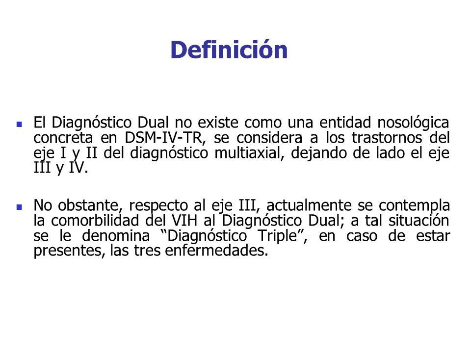 El Diagnóstico Dual no existe como una entidad nosológica concreta en DSM-IV-TR, se considera a los trastornos del eje I y II del diagnóstico multiaxi