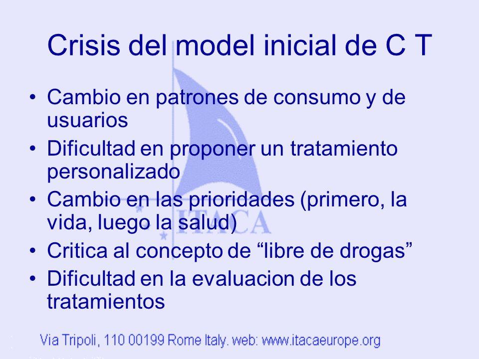 Crisis del model inicial de C T Cambio en patrones de consumo y de usuarios Dificultad en proponer un tratamiento personalizado Cambio en las prioridades (primero, la vida, luego la salud) Critica al concepto de libre de drogas Dificultad en la evaluacion de los tratamientos