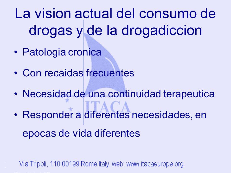 La vision actual del consumo de drogas y de la drogadiccion Patologia cronica Con recaidas frecuentes Necesidad de una continuidad terapeutica Responder a diferentes necesidades, en epocas de vida diferentes