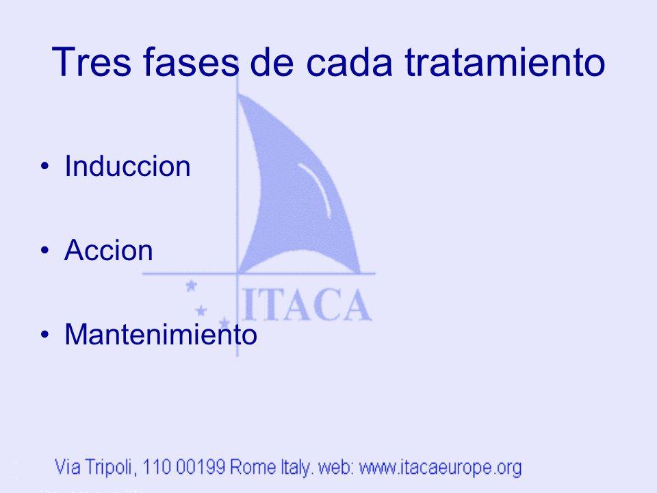 Tres fases de cada tratamiento Induccion Accion Mantenimiento