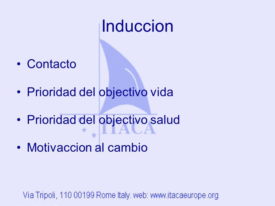 Induccion Contacto Prioridad del objectivo vida Prioridad del objectivo salud Motivaccion al cambio