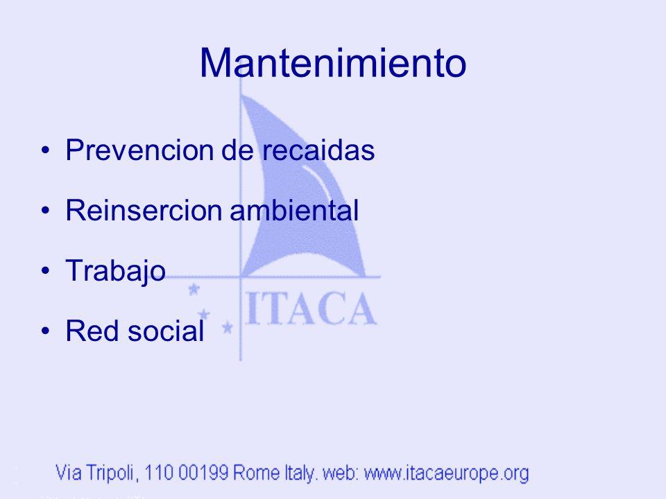 Mantenimiento Prevencion de recaidas Reinsercion ambiental Trabajo Red social