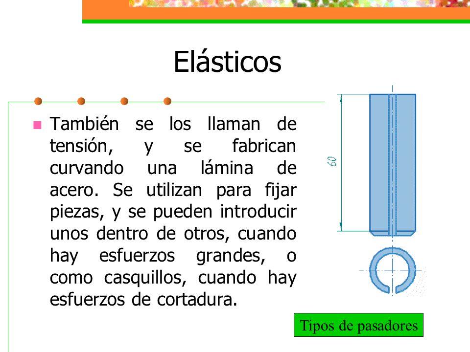 Elásticos También se los llaman de tensión, y se fabrican curvando una lámina de acero. Se utilizan para fijar piezas, y se pueden introducir unos den