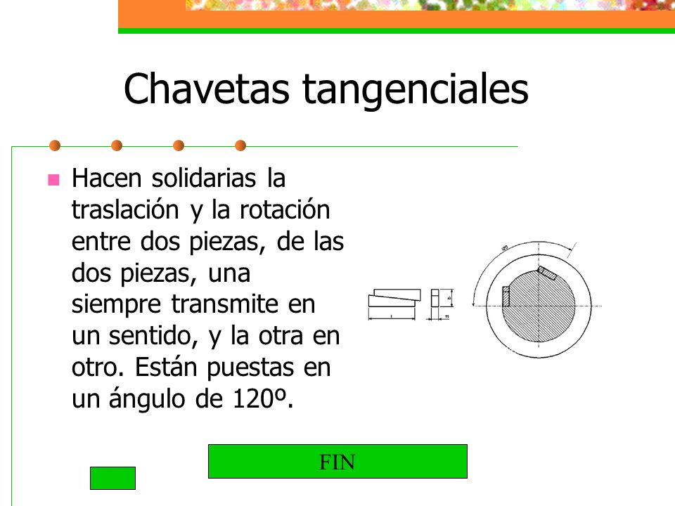Chavetas tangenciales Hacen solidarias la traslación y la rotación entre dos piezas, de las dos piezas, una siempre transmite en un sentido, y la otra en otro.
