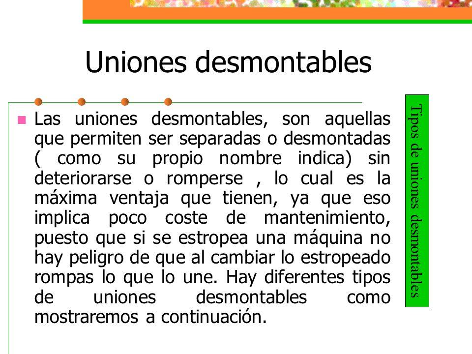 Uniones desmontables RoscasPasadores ChavetasChavetas y lengüetas Los tipos de uniones desmontables más destacados son: Las roscas.