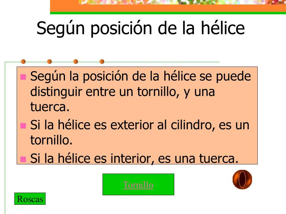 Según posición de la hélice Según la posición de la hélice se puede distinguir entre un tornillo, y una tuerca.