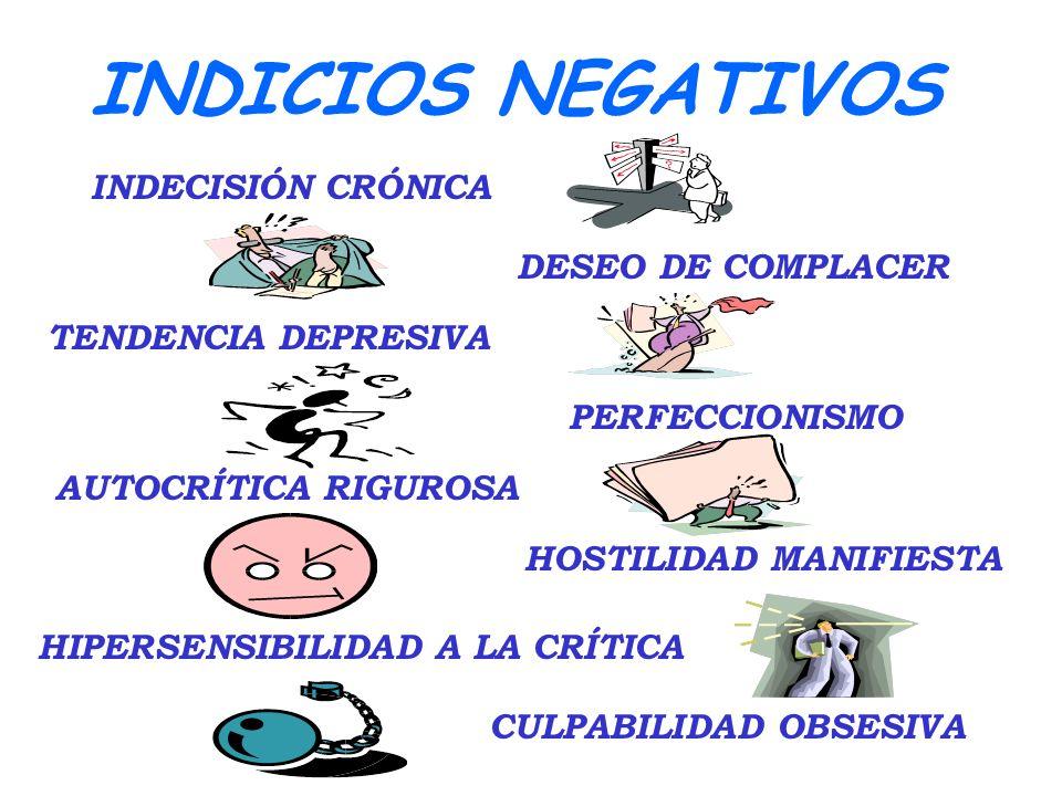 INDICIOS NEGATIVOS CULPABILIDAD OBSESIVA DESEO DE COMPLACER TENDENCIA DEPRESIVA PERFECCIONISMO AUTOCRÍTICA RIGUROSA HOSTILIDAD MANIFIESTA HIPERSENSIBILIDAD A LA CRÍTICA INDECISIÓN CRÓNICA