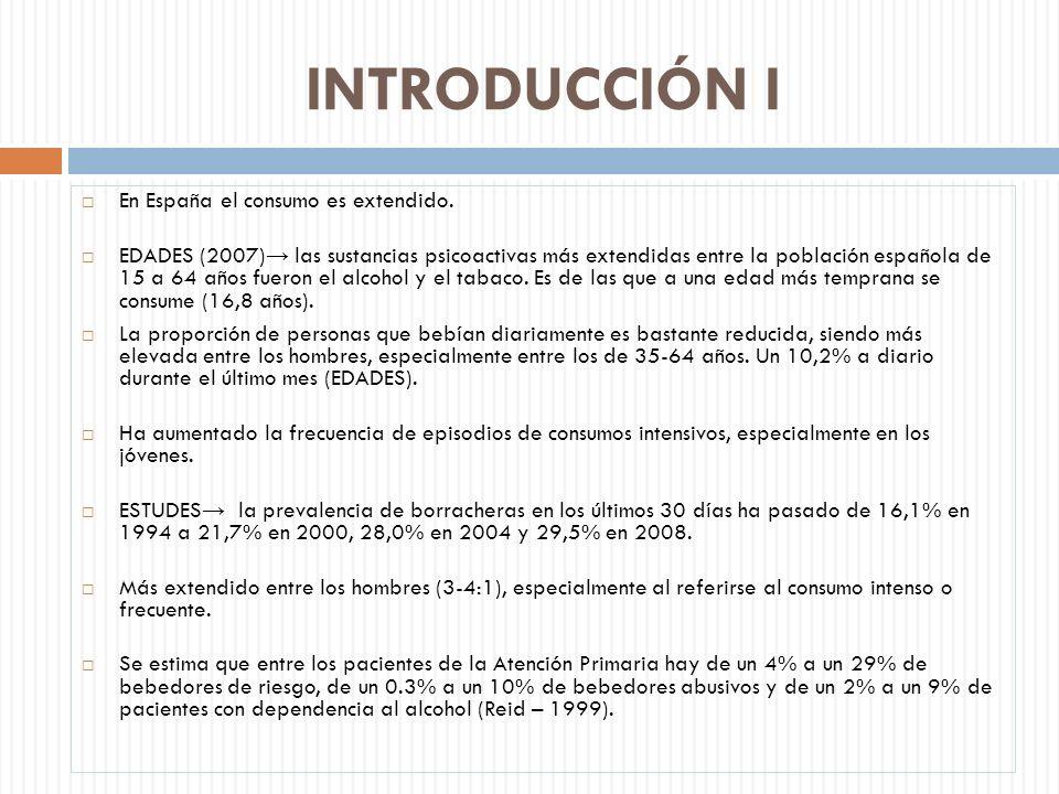 En España el consumo es extendido. EDADES (2007) las sustancias psicoactivas más extendidas entre la población española de 15 a 64 años fueron el alco