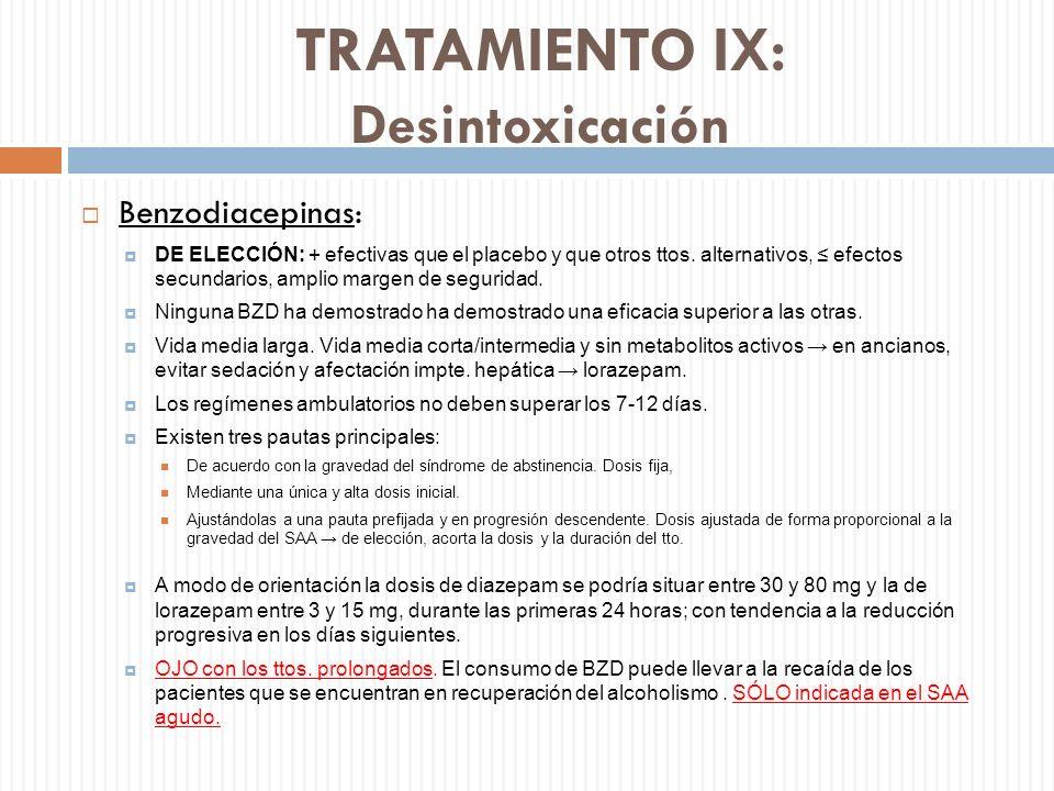 TRATAMIENTO IX: Desintoxicación Benzodiacepinas: DE ELECCIÓN: + efectivas que el placebo y que otros ttos. alternativos, efectos secundarios, amplio m