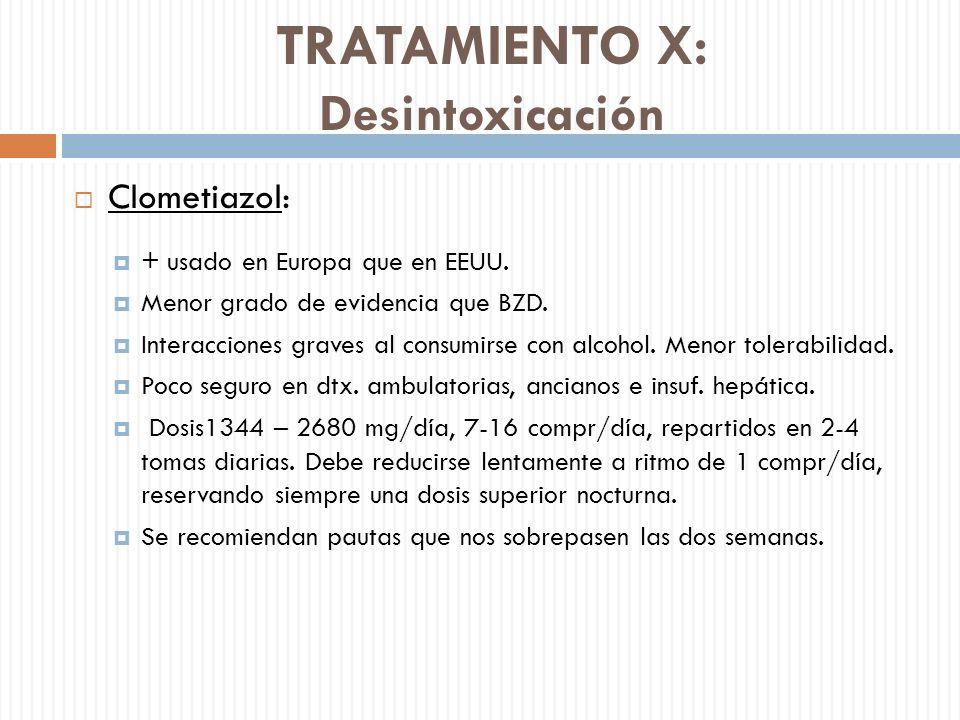 TRATAMIENTO X: Desintoxicación Clometiazol: + usado en Europa que en EEUU. Menor grado de evidencia que BZD. Interacciones graves al consumirse con al