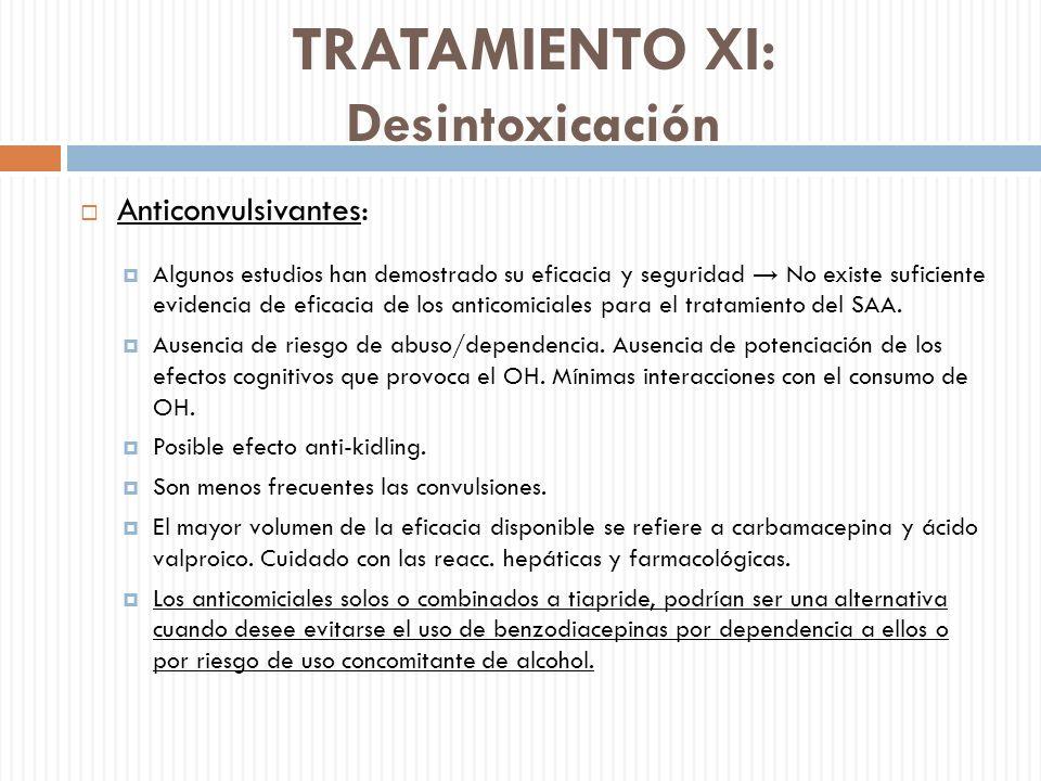 TRATAMIENTO XI: Desintoxicación Anticonvulsivantes: Algunos estudios han demostrado su eficacia y seguridad No existe suficiente evidencia de eficacia