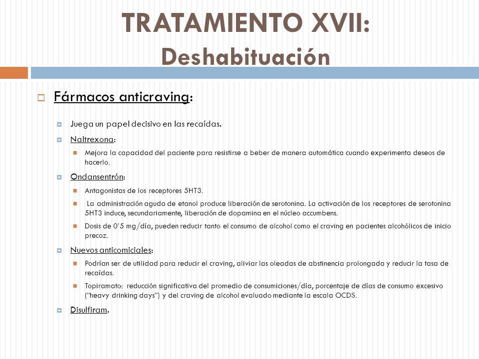 TRATAMIENTO XVII: Deshabituación Fármacos anticraving: Juega un papel decisivo en las recaídas. Naltrexona: Mejora la capacidad del paciente para resi
