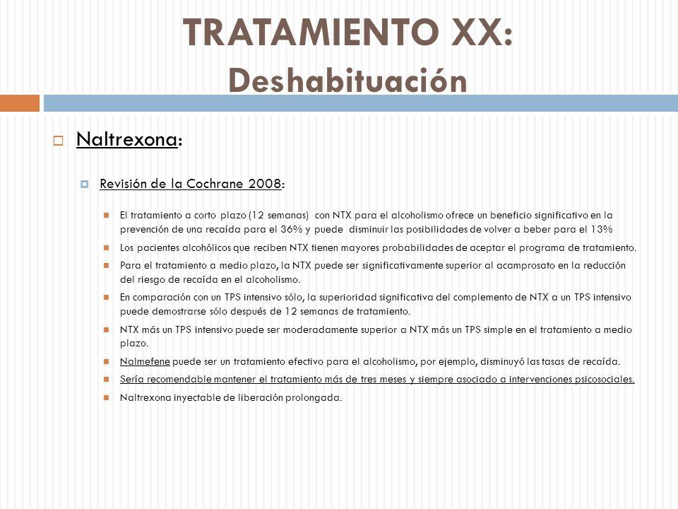TRATAMIENTO XX: Deshabituación Naltrexona: Revisión de la Cochrane 2008: El tratamiento a corto plazo (12 semanas) con NTX para el alcoholismo ofrece