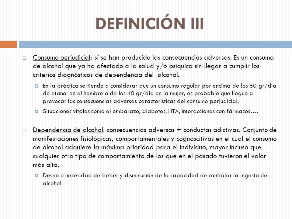 DEFINICIÓN III Consumo perjudicial: sí se han producido las consecuencias adversas. Es un consumo de alcohol que ya ha afectado a la salud y/o psíquic