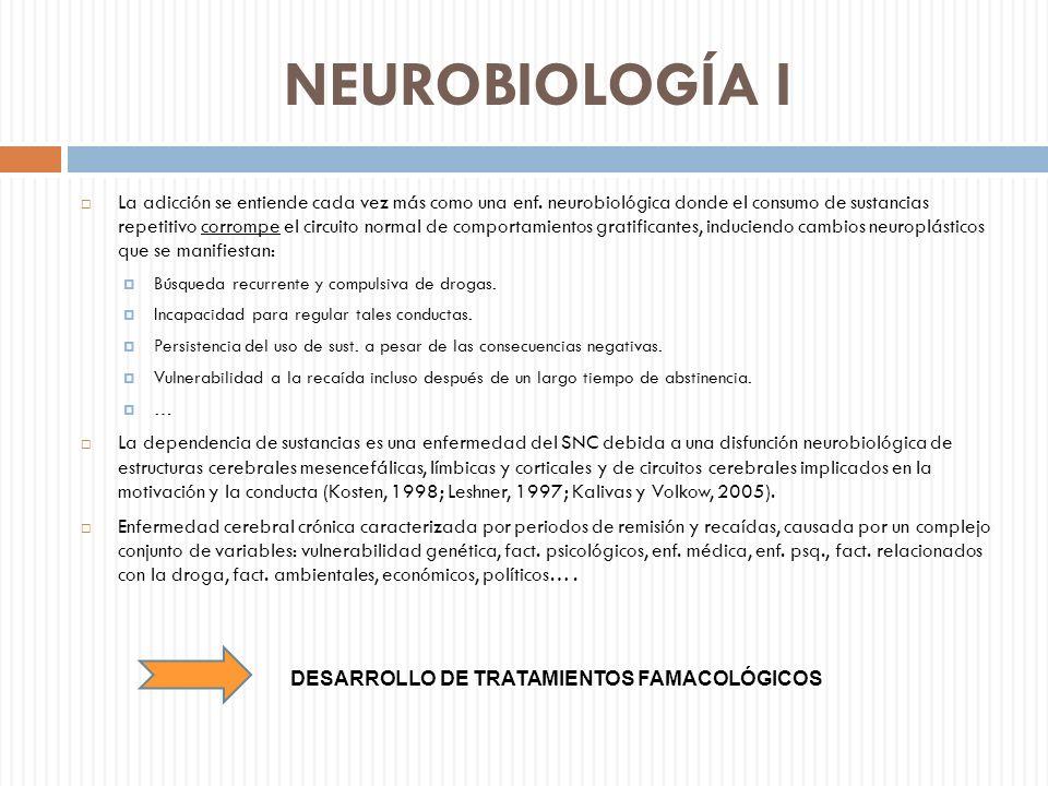 NEUROBIOLOGÍA I La adicción se entiende cada vez más como una enf. neurobiológica donde el consumo de sustancias repetitivo corrompe el circuito norma
