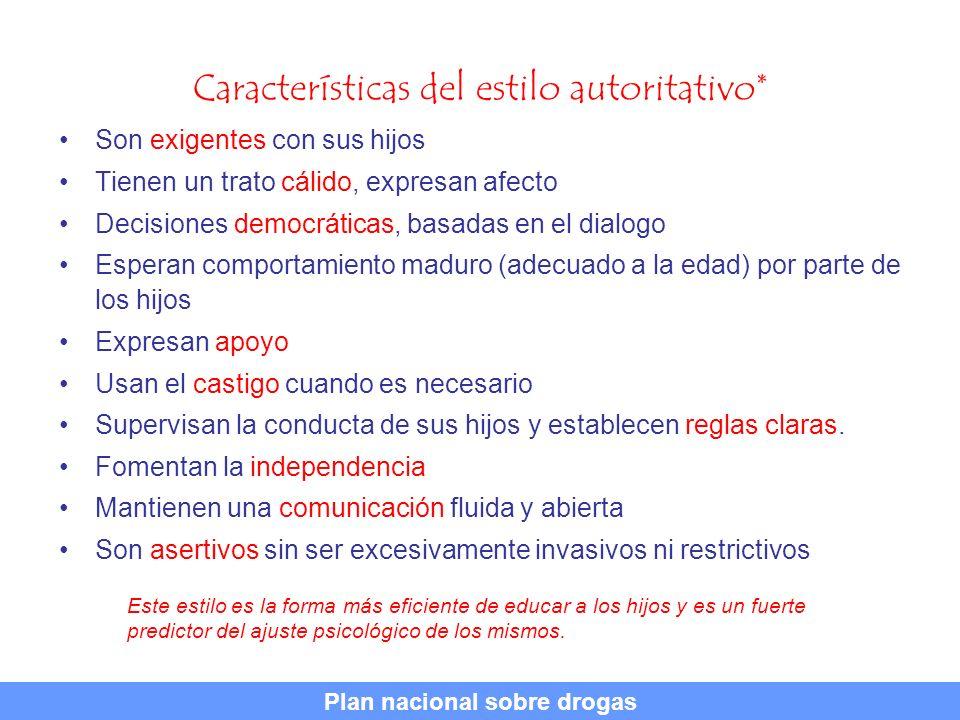 Características del estilo autoritativo* Son exigentes con sus hijos Tienen un trato cálido, expresan afecto Decisiones democráticas, basadas en el di