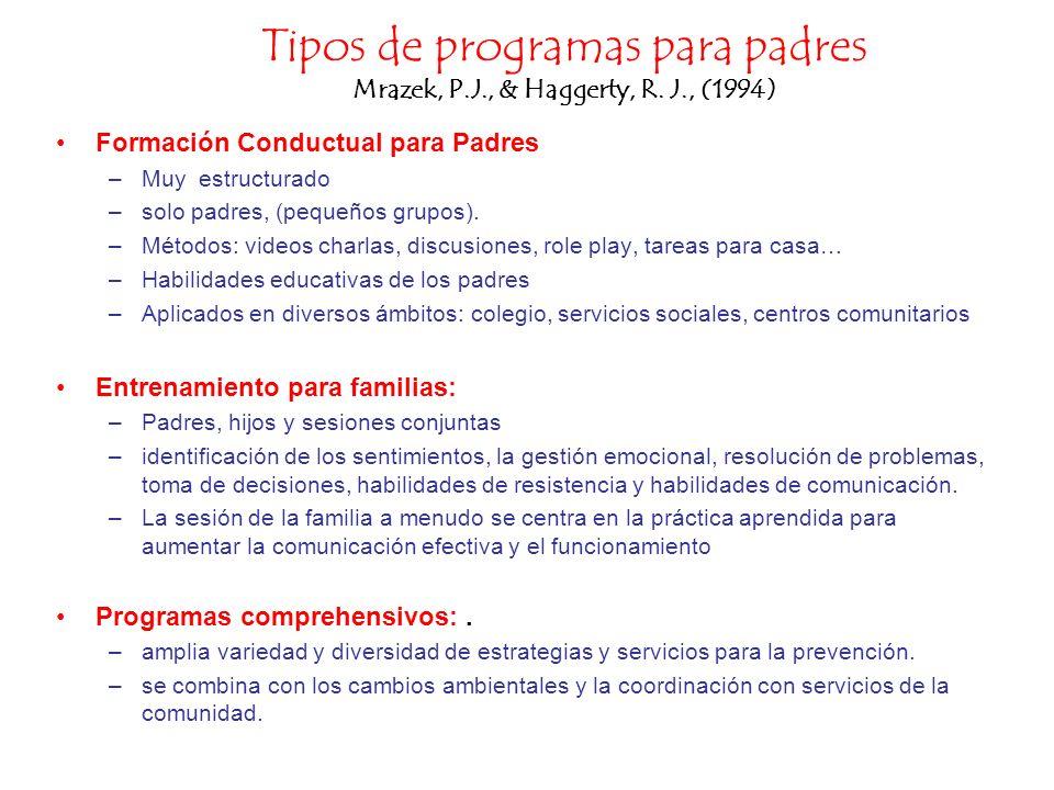 Tipos de programas para padres Mrazek, P.J., & Haggerty, R. J., (1994) Formación Conductual para Padres –Muy estructurado –solo padres, (pequeños grup