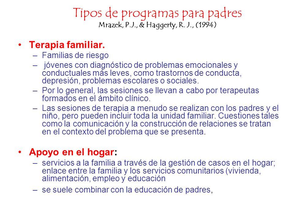 Tipos de programas para padres Mrazek, P.J., & Haggerty, R. J., (1994) Terapia familiar. –Familias de riesgo – jóvenes con diagnóstico de problemas em