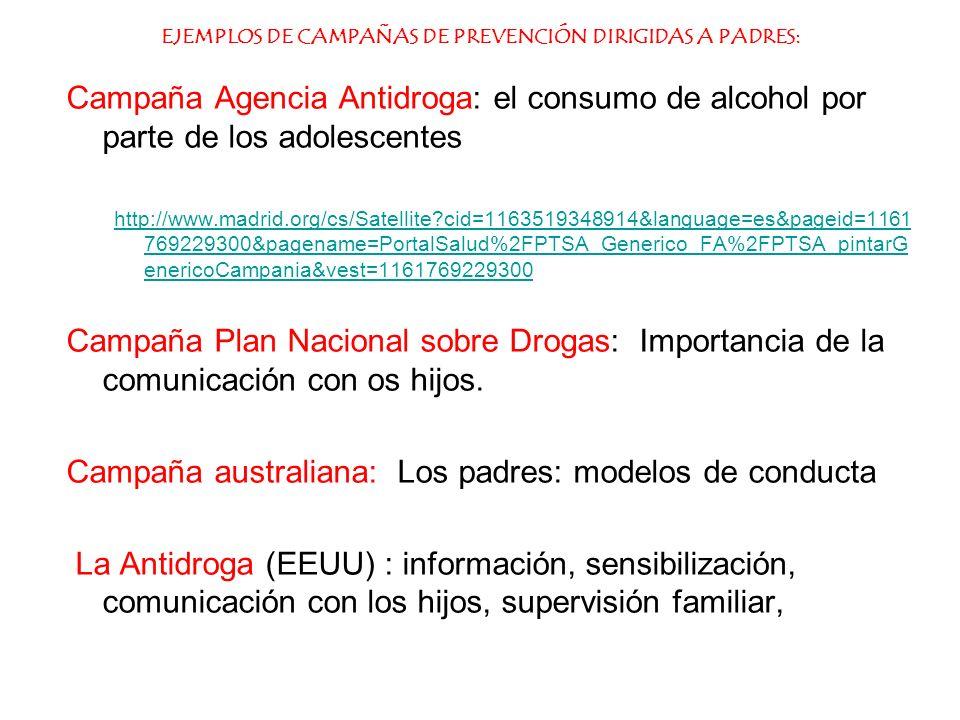 EJEMPLOS DE CAMPAÑAS DE PREVENCIÓN DIRIGIDAS A PADRES: Campaña Agencia Antidroga: el consumo de alcohol por parte de los adolescentes http://www.madri